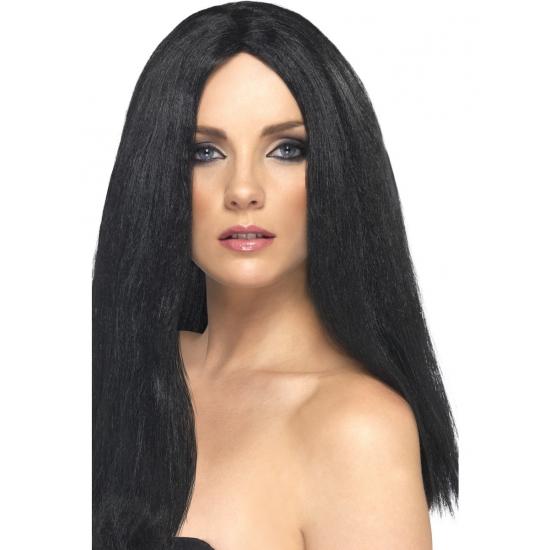 Lange damespruiken zwart haar