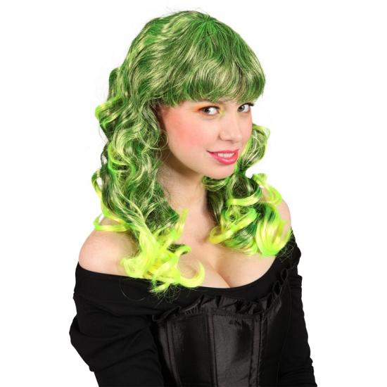 Lange groene damespruik