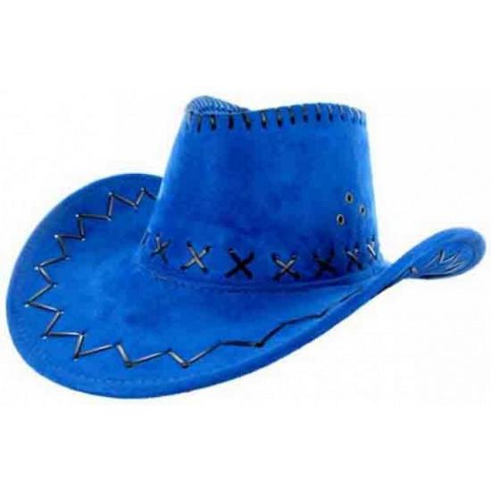 Lederlook cowboyhoeden blauw voor volwassenen