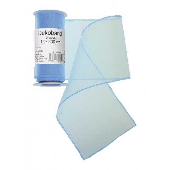 Lichtblauwe organza strook 12 x 300 cm