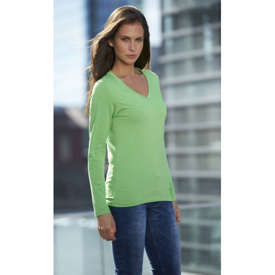 Lime dames cotton stretch shirts LS