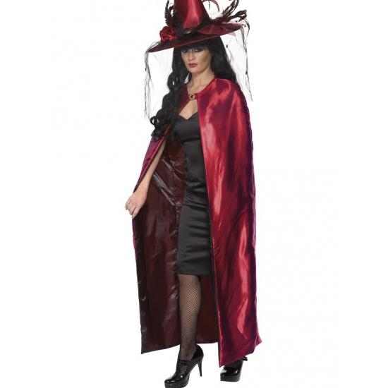 Luxe heksen cape zwart en rood