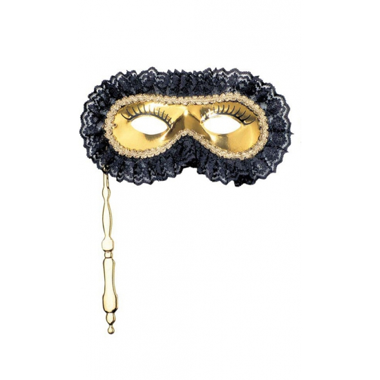 Masker met stokje goud