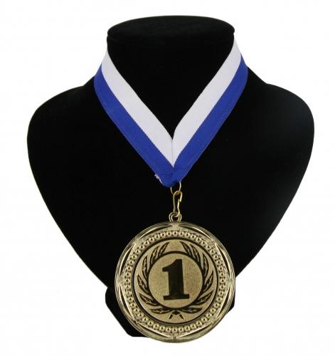 Medaille nr  1 halslint blauw en wit