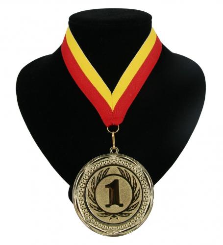 Medaille nr. 1 halslint rood en geel
