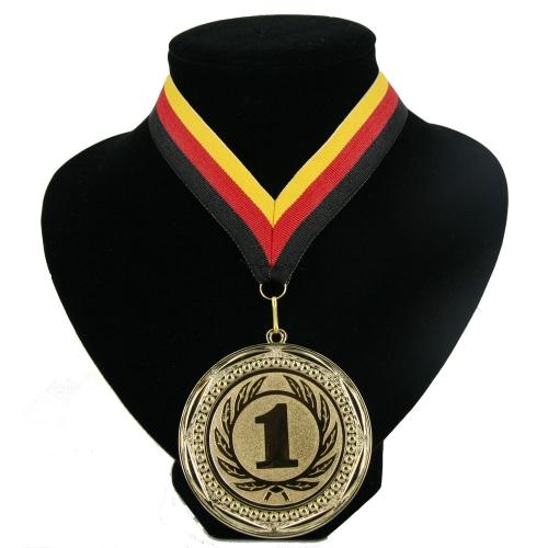Medaille nr. 1 halslint rood geel zwart