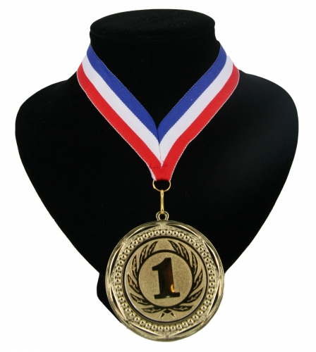 Medaille nr  1 halslint rood wit blauw