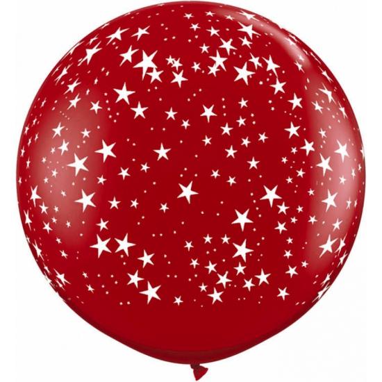 Mega ballon rood met sterren 90 cm