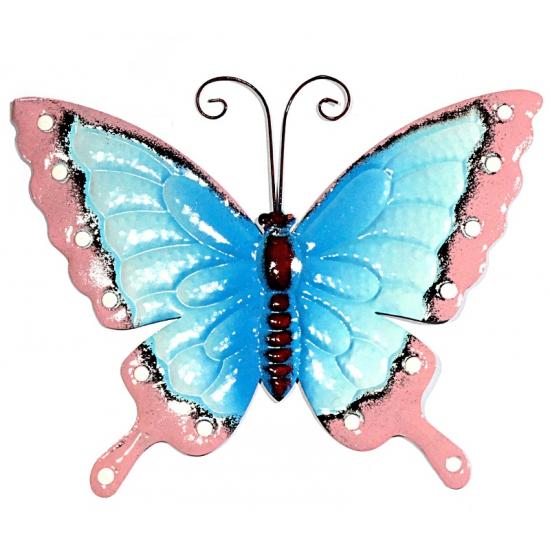 Metalen decoratie vlinder blauw roze 30 cm