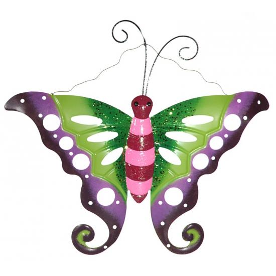 Metalen decoratie vlinder paars groen 41 cm