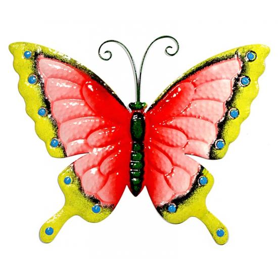 Metalen decoratie vlinder roze geel 30 cm