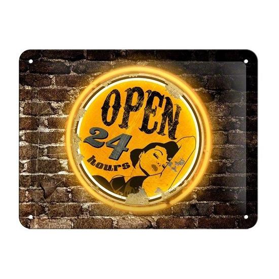 Metalen wandplaat Open 24 Hours