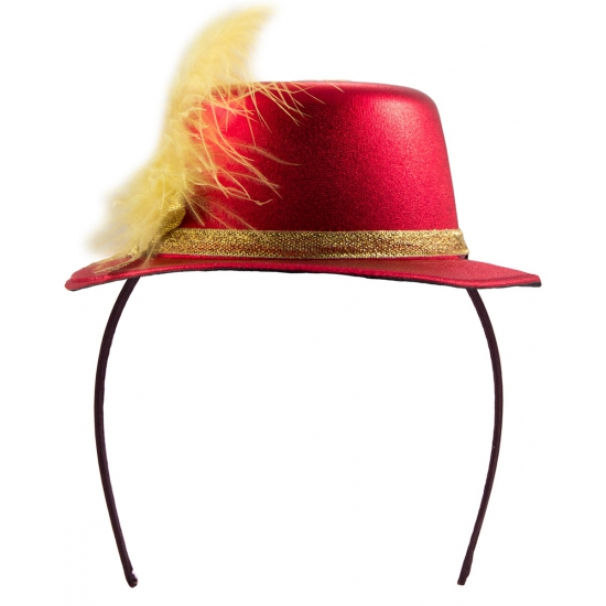 Metallic rood hoedje op tiara