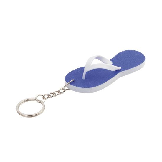 Mini sleutelhanger blauwe teenslipper 8 cm