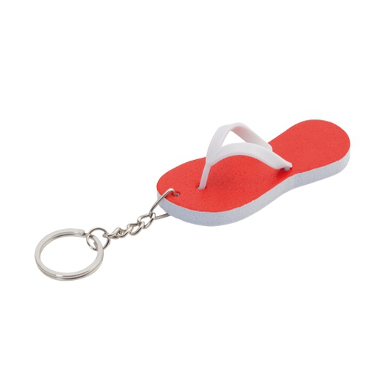 Mini sleutelhanger rode teenslipper 8 cm