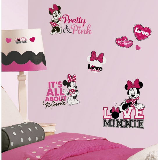 Minnie Mouse loves pink wand stickers