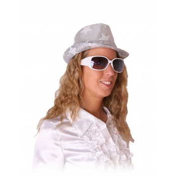 Modieuze witte feestbril met glitters