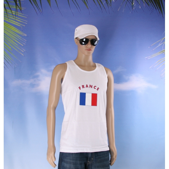 Mouwloos t shirt met Frankrijk vlag