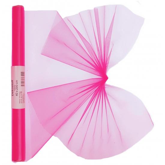Neon roze organza op rol 40 x 200 cm