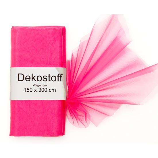 Neon roze organza stoffen 150 x 300 cm