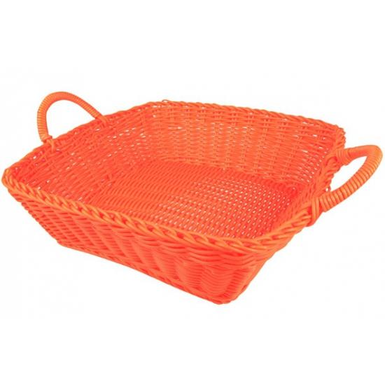 Oranje broodmandje vierkant 25 cm