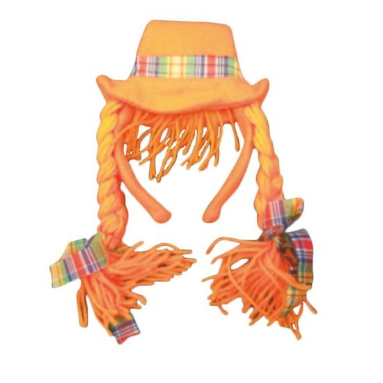 Oranje diadeem met hoed en vlechten