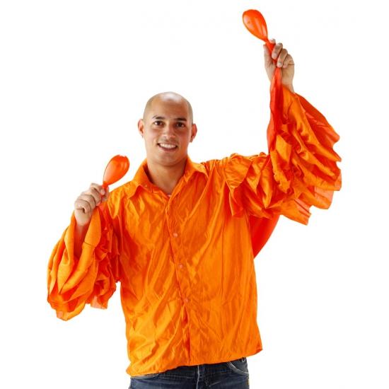 Oranje heren blouse met rouches