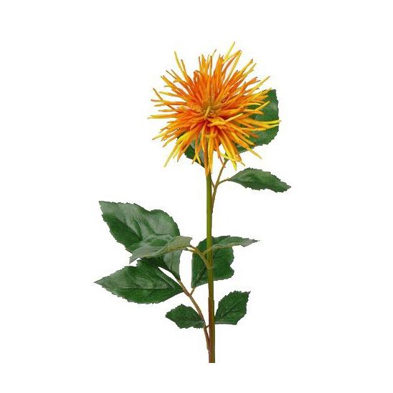 Oranje met gele Chrysanten kuntbloemen 71 cm