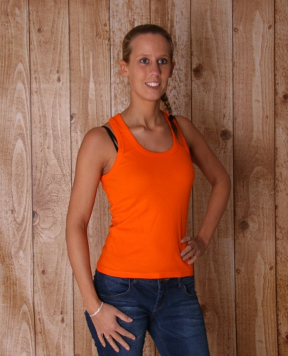 Oranje mouwlose dames t shirts