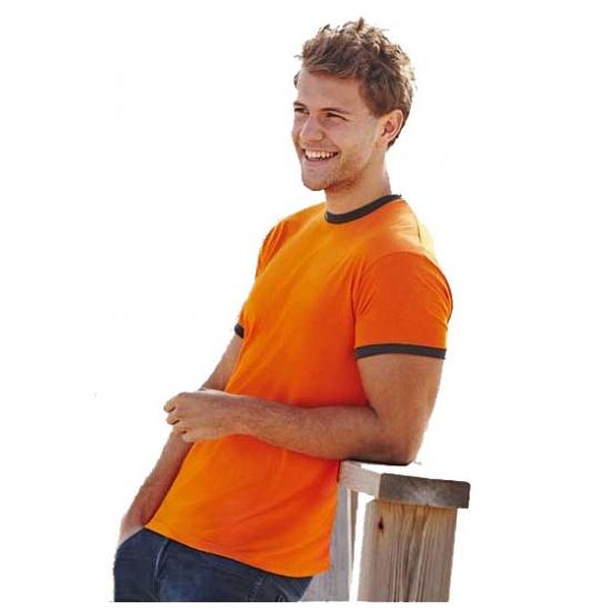 Oranje ringer t shirt met contrast kleuren
