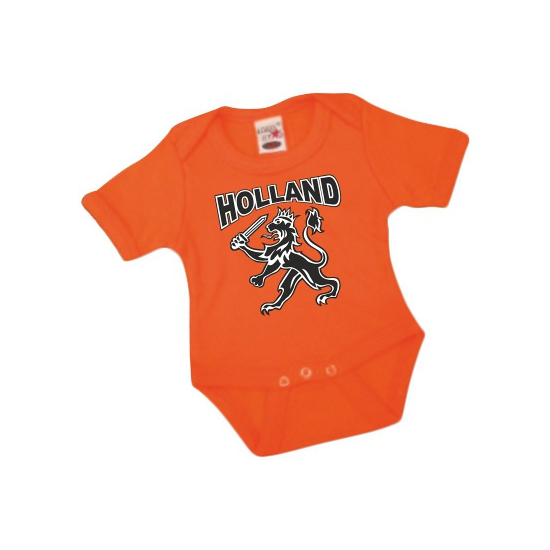 Oranje romper voor babies met leeuw