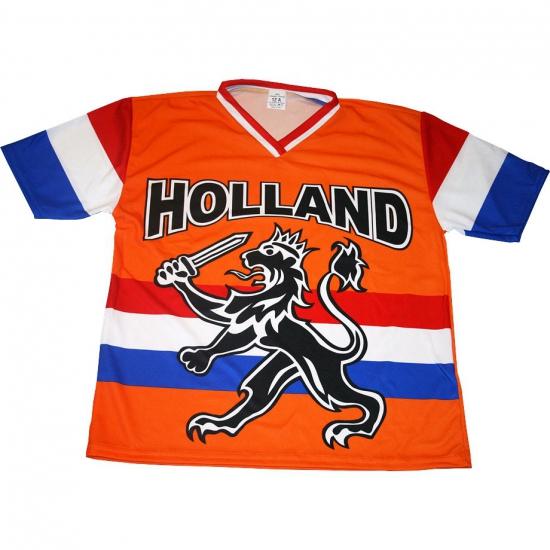 Oranje t shirt met Hollandse leeuw en Hollandse vlag