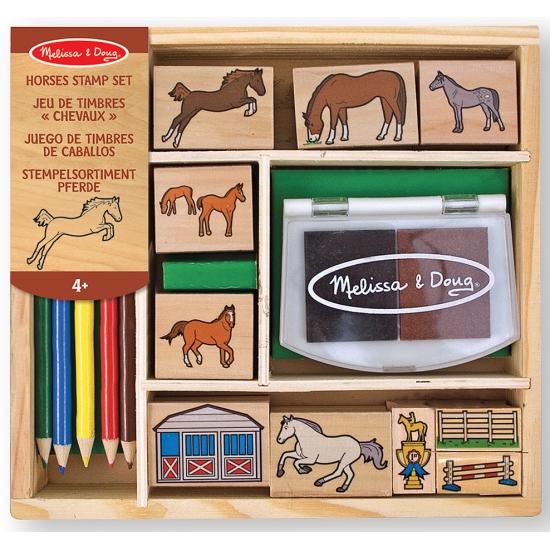 Paarden stempelset van hout