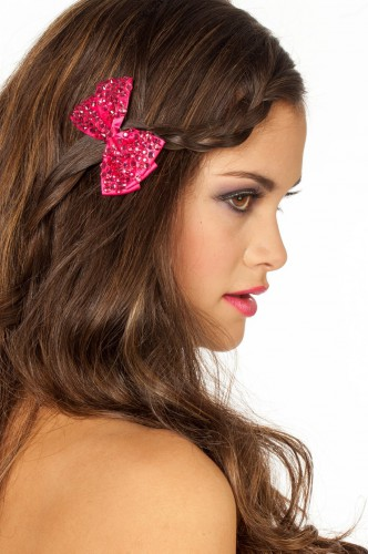 Pailletten haarclip roze