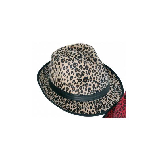 Panter print hoed  bruin trilby model