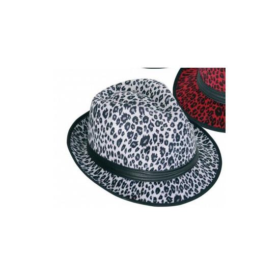 Panter print hoed wit trilby model