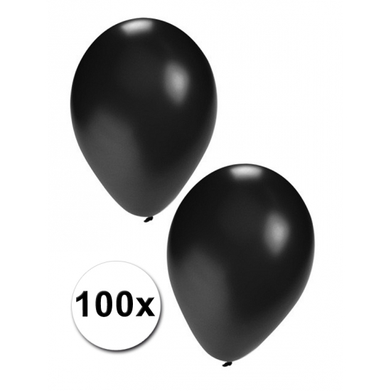 Party ballonnen zwart  100 stuks