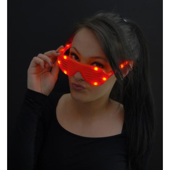Party lamellenbril met rode lichtjes