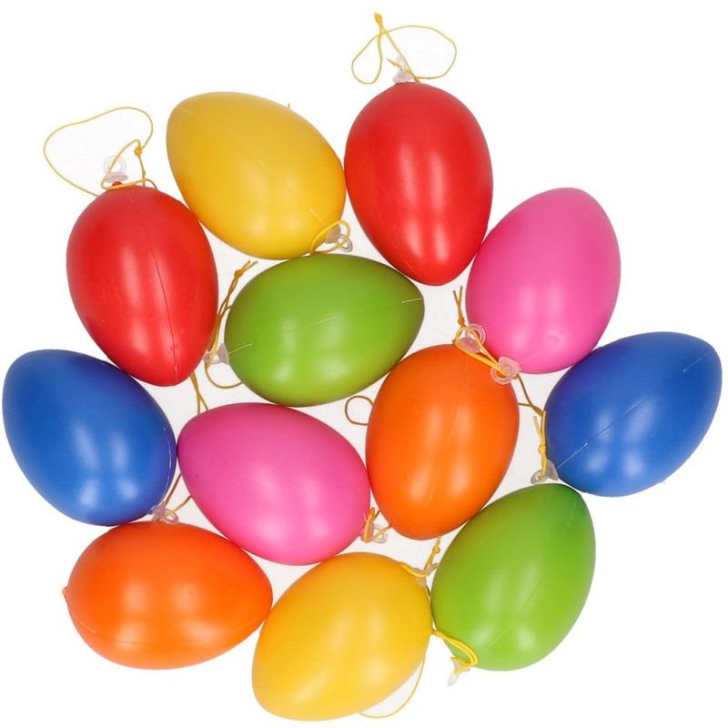 Pasen gekleurde hangdecoratie eieren 12 stuks