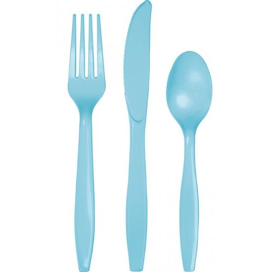 Plastic bestek lichtblauw 24 delig