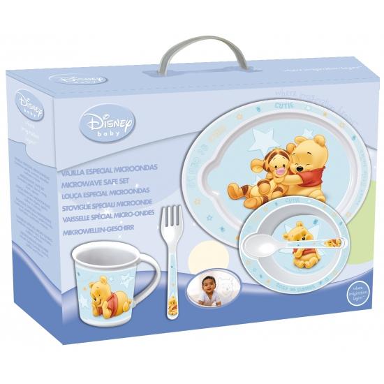 Plastic kinder servies Winnie de Pooh blauw