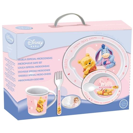 Plastic kinder servies Winnie de Pooh roze
