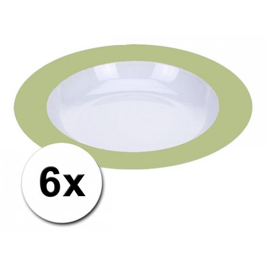 Plastic party borden groen pakket 6 stuks