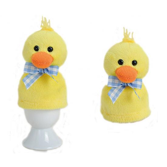 Pluche geel kuikens eierwarmer 9 cm