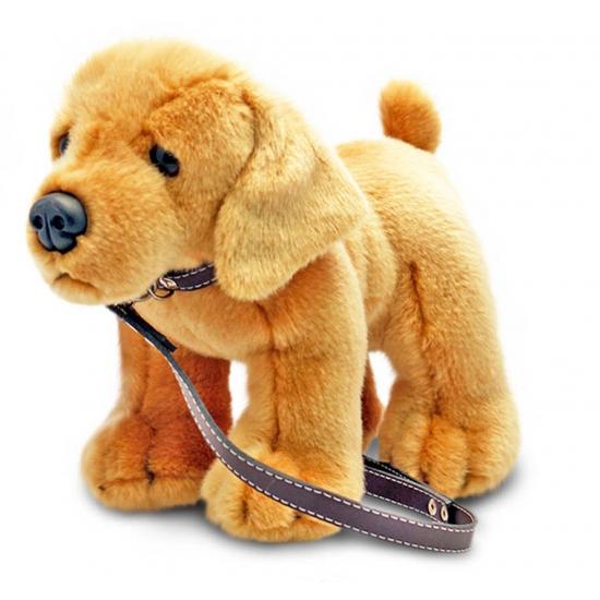 Pluche Labrador hond aan lijn