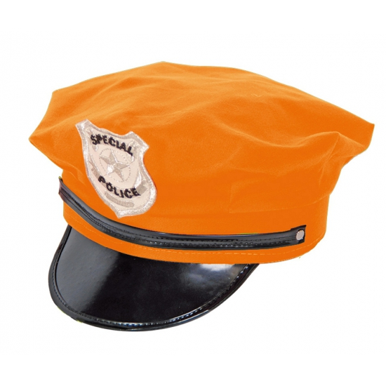 Politie agent pet oranje