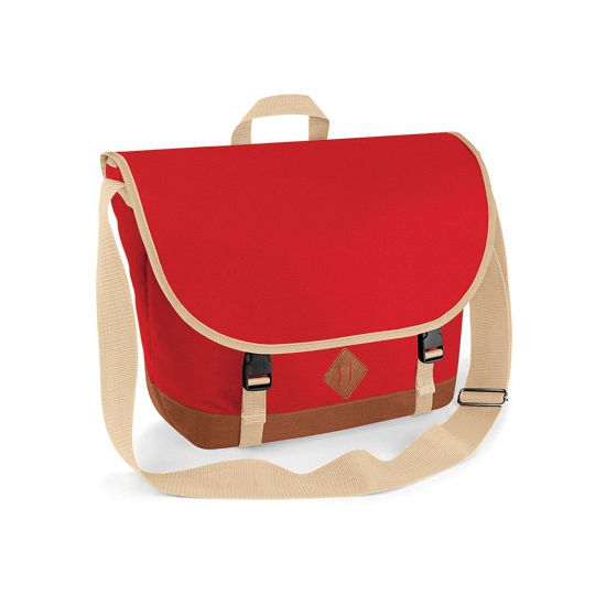 Polyester shouldertas rood met beige