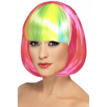 Pruik met neon roze bob en regenboog pony
