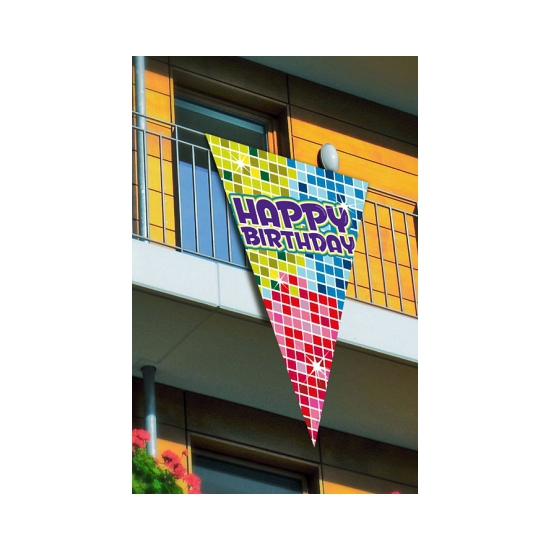 Puntvlag Happy Birthday 150 cm