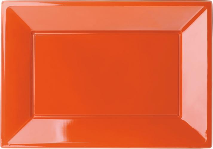 Rechthoekige oranje borden 3 stuks